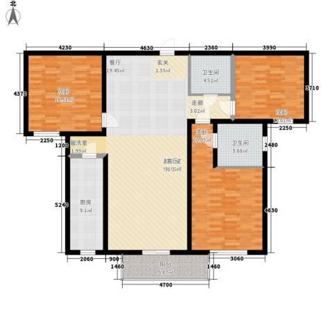 卡玛国际花园3室0厅2卫1厨141.00㎡户型图