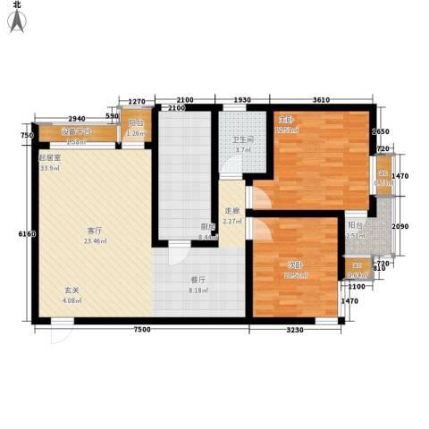 卡玛国际花园2室0厅1卫1厨88.00㎡户型图