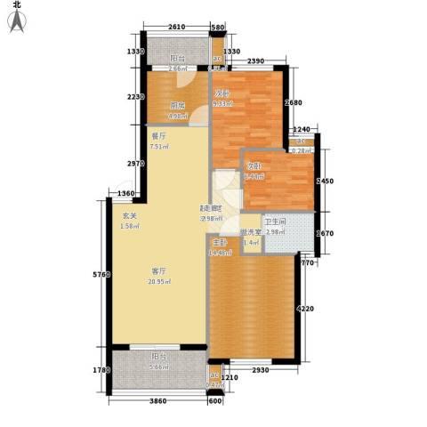广华苑3室0厅1卫1厨80.00㎡户型图