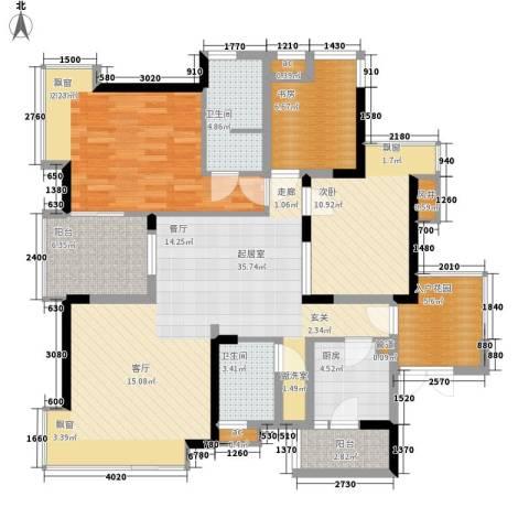 春风城市心筑3室0厅2卫1厨98.84㎡户型图