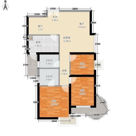 城南锦绣3室0厅2卫1厨109.00㎡户型图