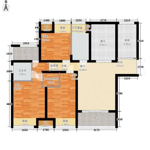 华仁凤凰城3室1厅2卫1厨140.00㎡户型图
