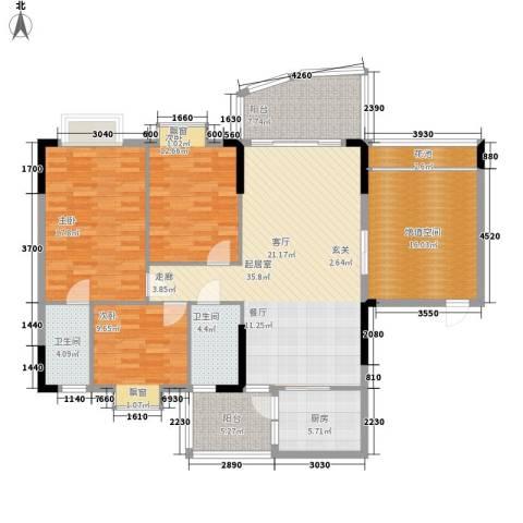 万虹花园3室0厅2卫1厨135.00㎡户型图