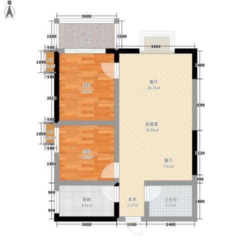 迎泽公寓2室0厅1卫1厨75.00㎡户型图