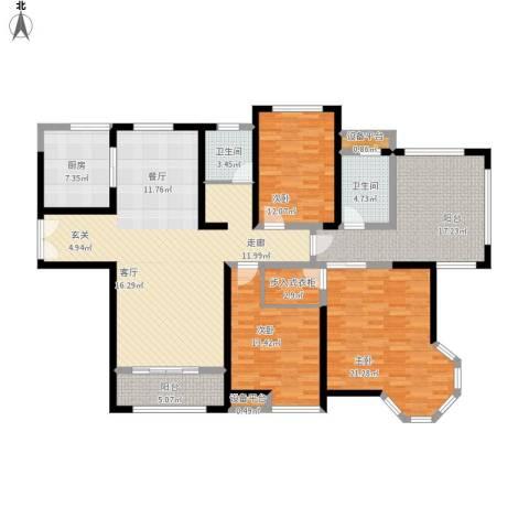金海名园3室1厅2卫1厨192.00㎡户型图