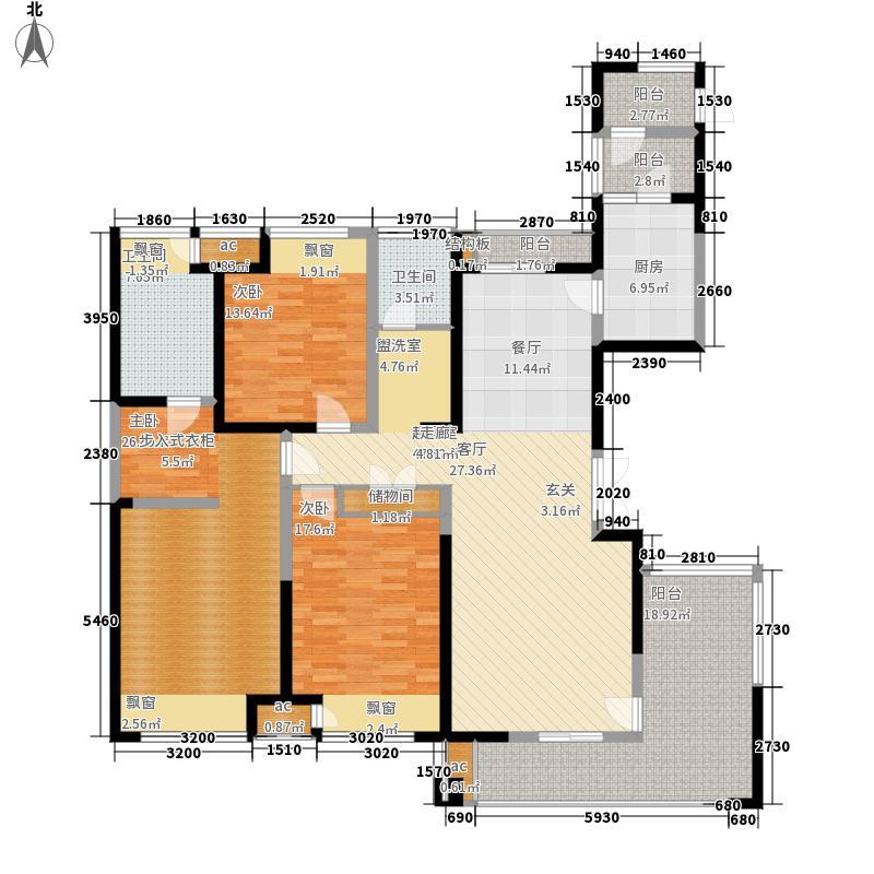 华仁凤凰城176.00㎡C3居室户型3室2厅