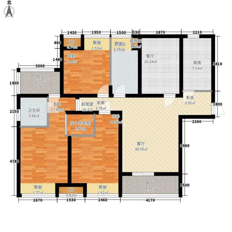 华仁凤凰城140.98㎡E户型3室1厅