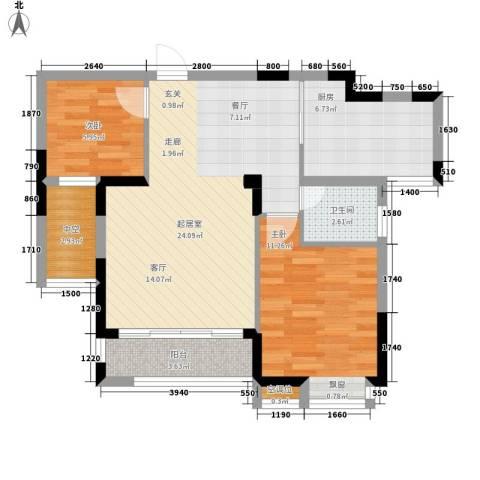 桂林奥林匹克花园2室0厅1卫1厨83.00㎡户型图