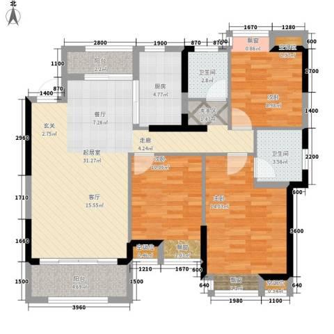 桂林奥林匹克花园3室0厅2卫1厨114.00㎡户型图