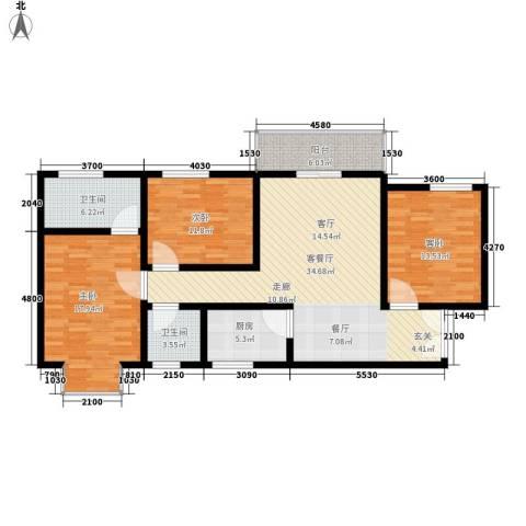 上林沣苑3室1厅2卫1厨130.00㎡户型图