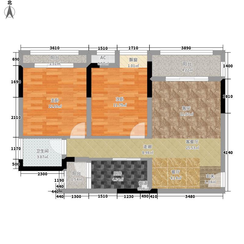 首信皇冠假日74.47㎡一期洋房9/10号楼标准层A1-8-4户型2室2厅