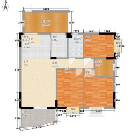 万虹花园3室0厅2卫1厨129.00㎡户型图