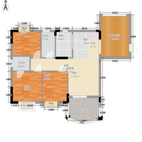 万虹花园3室0厅2卫1厨102.00㎡户型图