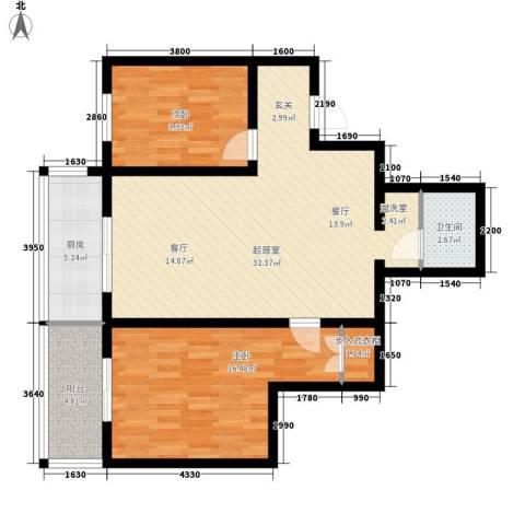 金桥四季花园2室0厅1卫1厨83.00㎡户型图