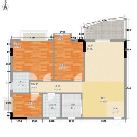 万虹花园3室0厅2卫1厨107.00㎡户型图