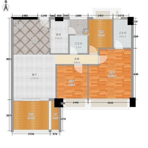 时代花生3室1厅2卫1厨109.00㎡户型图