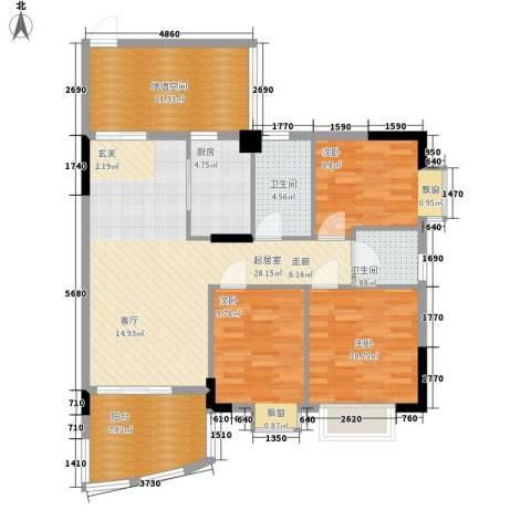 万虹花园3室0厅2卫1厨101.00㎡户型图
