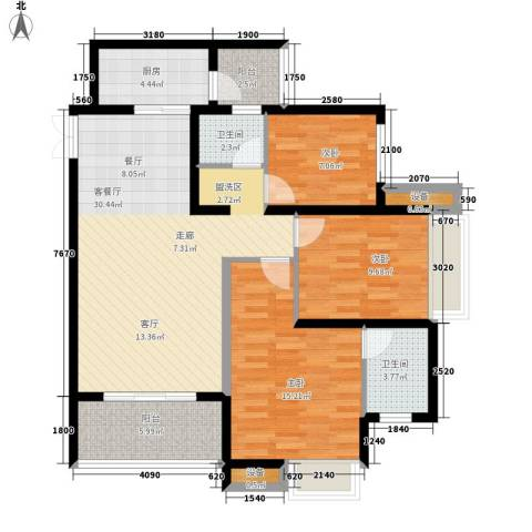 金辉悦府3室1厅2卫1厨98.00㎡户型图