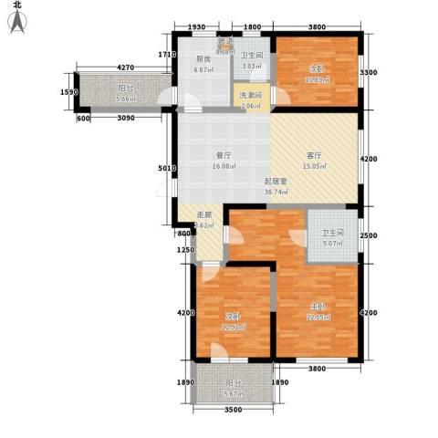 朗诗绿色街区3室0厅2卫1厨140.00㎡户型图