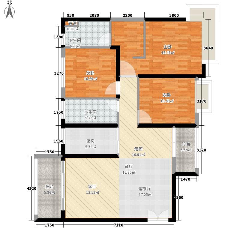 恒大帝景134.68㎡1期2栋2单元1号标准层3室户型