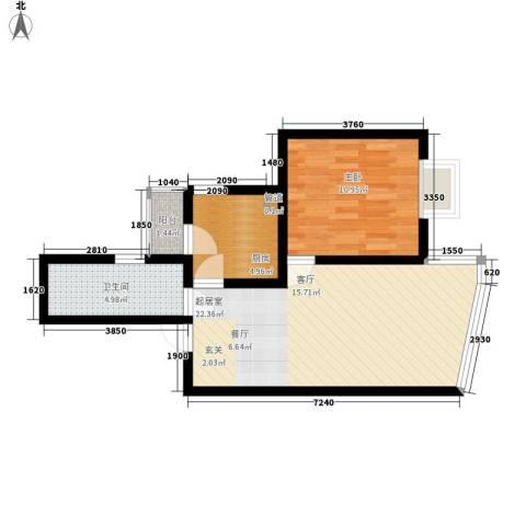 鹿港嘉苑1室0厅1卫1厨64.00㎡户型图