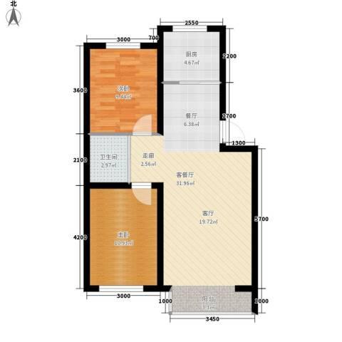 盈胜毓园2室1厅1卫1厨84.00㎡户型图