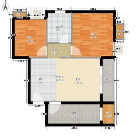 绿湖豪城2室1厅1卫1厨80.00㎡户型图