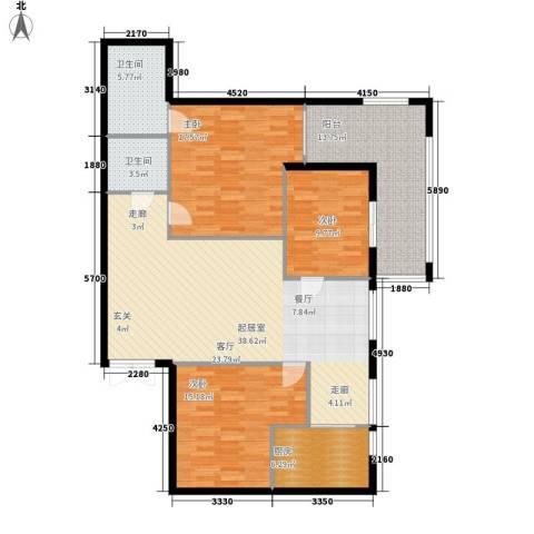 惠馨名仕公馆3室0厅2卫1厨122.00㎡户型图