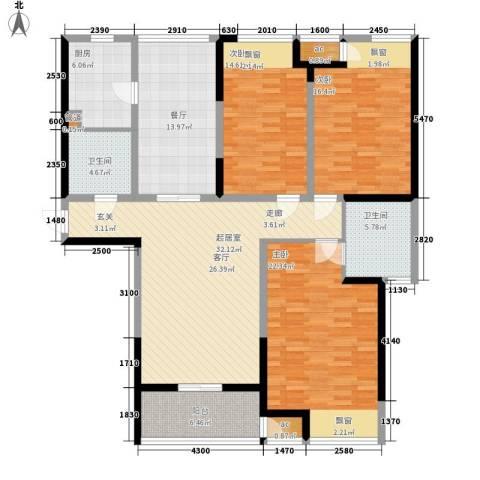 华仁凤凰城3室1厅2卫1厨142.00㎡户型图