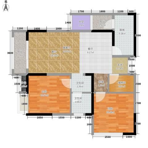 领馆国际城2室1厅1卫1厨86.00㎡户型图