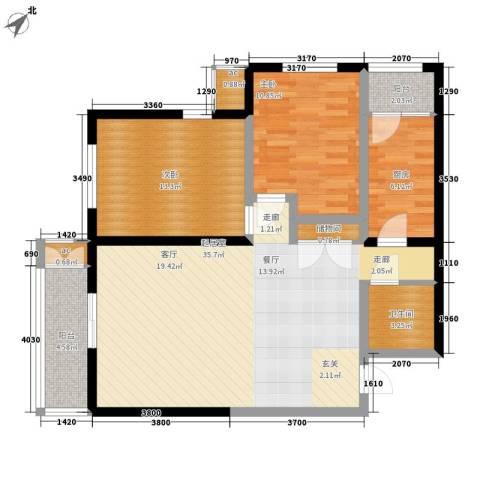 金洋华城2室0厅1卫1厨101.00㎡户型图