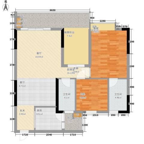 荔江美筑2室0厅2卫1厨96.00㎡户型图