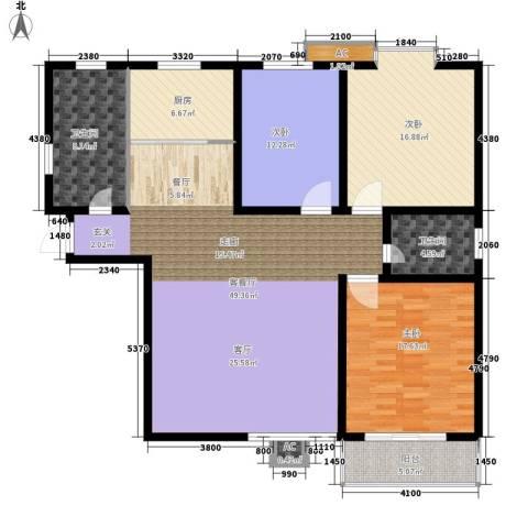 都市桂苑3室1厅2卫1厨138.00㎡户型图
