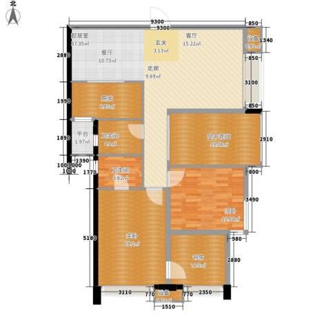 名湖花园3室0厅2卫1厨120.00㎡户型图