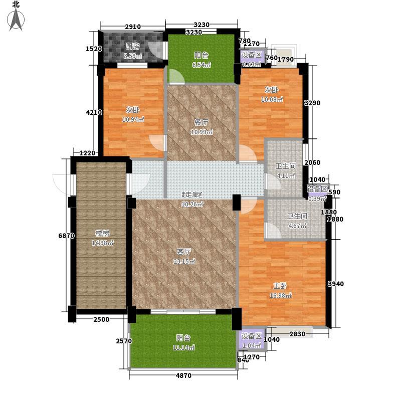 金色华庭143.32㎡1、9栋顶层023面积14332m户型