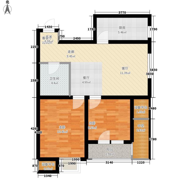 名流印象79.36㎡B-2户型2室2厅