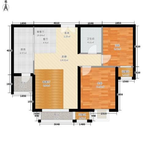 梧桐大道2室1厅1卫1厨89.00㎡户型图