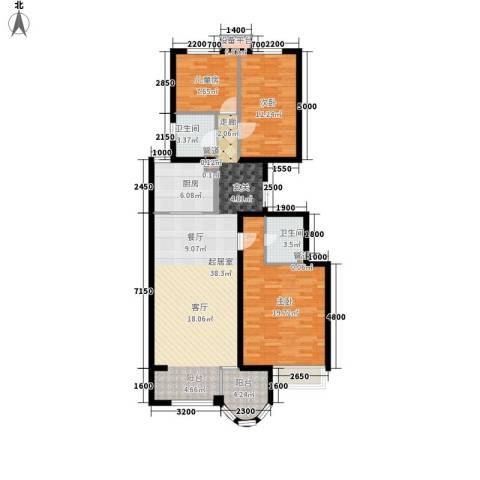 鹭港小区3室0厅2卫1厨136.00㎡户型图