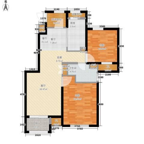 花境2室1厅1卫1厨87.00㎡户型图
