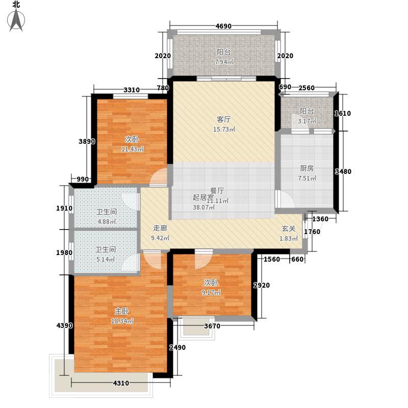 恒大御景半岛1号楼2单元标准层3室户型