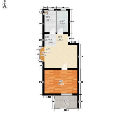 华阳山庄1室1厅1卫1厨62.00㎡户型图