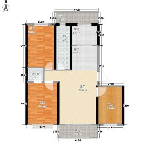 名都枫尚3室1厅2卫1厨138.00㎡户型图