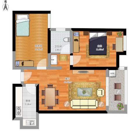 幸福里程1室1厅1卫1厨84.00㎡户型图
