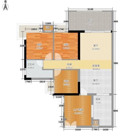 翠城花园3室0厅1卫1厨105.00㎡户型图