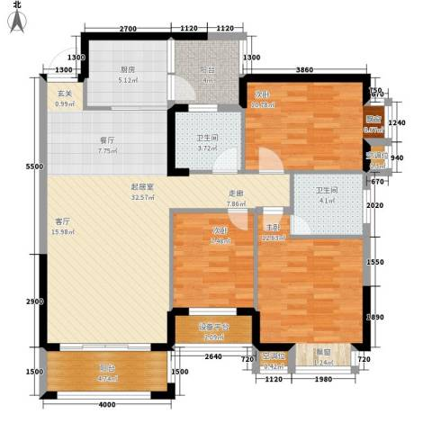 桂林奥林匹克花园3室0厅2卫1厨112.00㎡户型图
