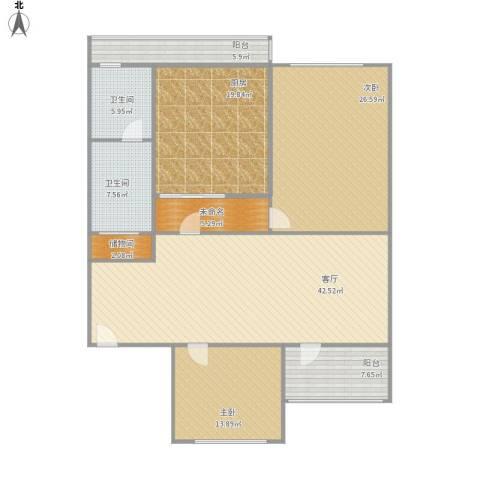 佳园小区2室1厅2卫1厨184.00㎡户型图