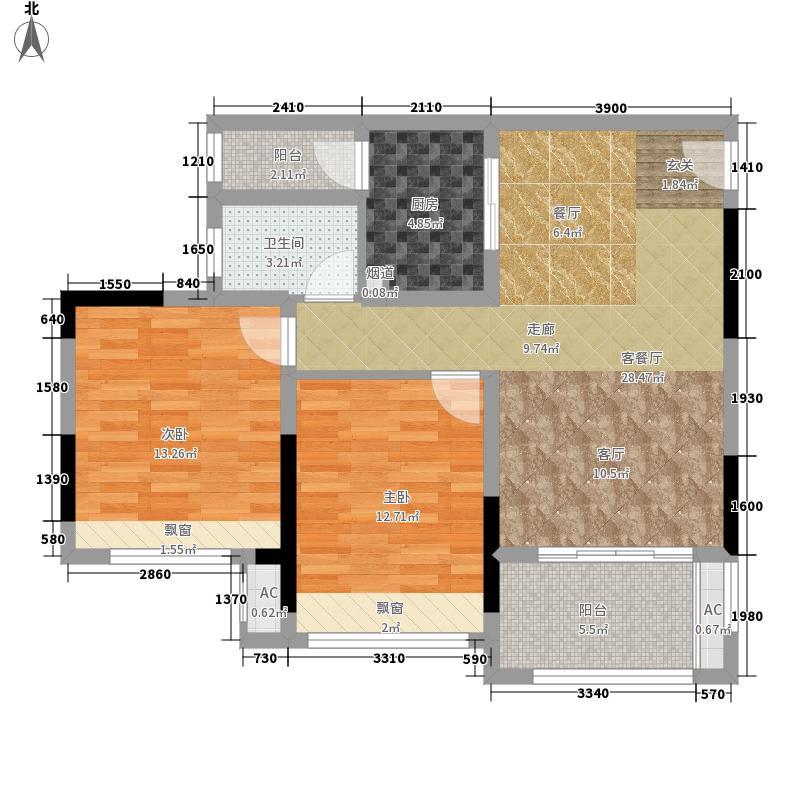 首信皇冠假日80.04㎡一期洋房9/10号楼标准层A1-3/4/5-3户型2室1厅