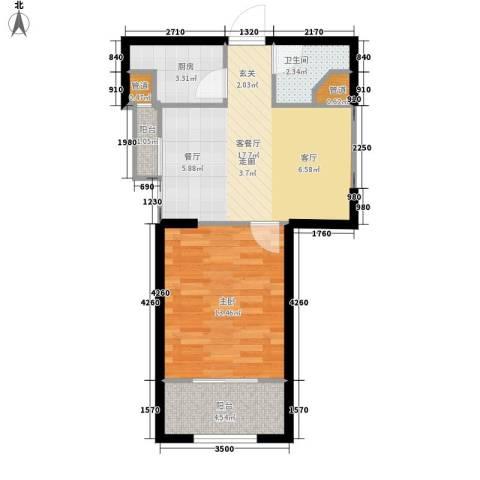 罗马西西里1室1厅1卫1厨60.00㎡户型图