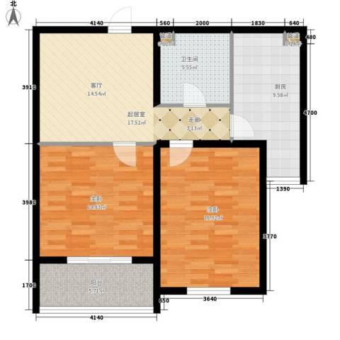 东上华府2室0厅1卫1厨79.00㎡户型图