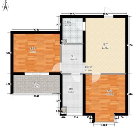 东上华府2室0厅1卫1厨77.00㎡户型图